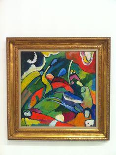 """Vassili KANDINSKY """"Deux Cavaliers et personnage allongé"""" (1909-1910), on display at """"De Chagall à Malévitch - La révolution des avant-gardes"""" exhibition, Grimaldi Forum, Monaco by www.yourguideboba.com"""