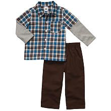 Cute Outfit I found for my nephew. Carter's Boy Layered Plaid Shirt and Pant Set - Navy / Brown