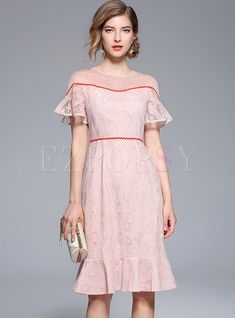 Shop Pink Embroidery Mesh Falbala Mermaid Dress at EZPOPSY. Plain Dress, Buy Dress, Fashion Online, Cold Shoulder Dress, Mermaid, Mesh, Embroidery, Formal Dresses, Modern