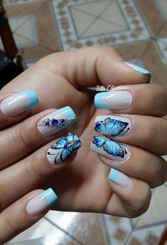 Almond Nails Designs, Ombre Nail Designs, Creative Nail Designs, Toe Nail Designs, Creative Nails, Cute Spring Nails, Summer Nails, Butterfly Nail Art, Basic Nails