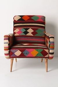 One-of-a-kind Berr Armchair (vintage kilim fabric) Deco Ethnic Chic, Casa Petra, Cool Furniture, Furniture Design, Home Interior, Interior Design, Patchwork Chair, Take A Seat, Wabi Sabi