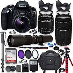 for Canon EOS Rebel T6 Professional Dual Handle Aluminum 67 Tripod Bubble Level