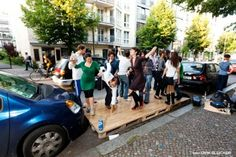 Labplatz--now this is what I call a fabulous use of a parking space: DISCO! By architects Stiftun Freizeit with BMW Guggenheim Lab in Berlin. Parking Spots, Car Parking, Outdoor Cafe, Power Nap, Kiddie Pool, Pop Up, Swimming Pools, Dance Floors, Street View