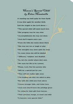 Heaven's Special Child. A poem