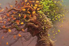"""Tomas Alen Kopera é um pintor polonês que reflete as profundezas de sua mente por meio de suas pinturas. São ilustrações surrealistas nas quais os componentes sãoanatureza humana e os mistérios do universo.  """"No meu trabalho eu tento chegar..."""