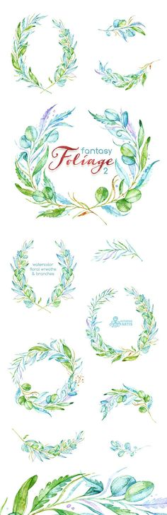 Fantasy Foliage 2. Watercolor floral wreaths, branches, leaves, invitation, greeting card, diy clip art, green leaf, greenery, leafage