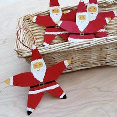 Ariel's Starfish Santas. Fun craft for kids.
