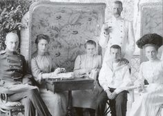 Grand Duchess Elizavetta (Second from left), Grand Duke Sergeii Standing in front of (probable) Grand Duke Dmirtii Pavlovich), Princess Zenaide Yusspov (far right.) (The young girl maybe Grand Duchess Marie Pavlovna).
