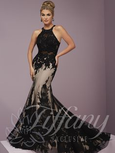 Tiffany Exclusive 46107 Black Nude High Neck Floral Applique Prom Dress