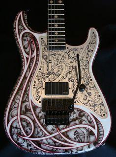 GuitarQueue - Charvel USA Custom Shop San Dimas Gothic Tribal Skulls (http://guitarqueue.com/charvel-usa-custom-shop-san-dimas-gothic-tribal-skulls/)
