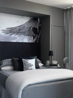 bedrooms - charcoal gray walls bed nook gray bedding black pillows art Toronto Interior Design Group Chic gray bedroom with charcoal gray walls, Glam Bedroom, Home Bedroom, Bedroom Wall, Bedroom Furniture, Bedroom Decor, Master Bedroom, Bedding Decor, Decor Room, Bedding Sets