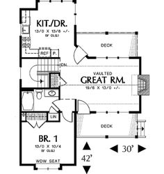 Farmhouse Style House Plan - 3 Beds 2 Baths 1225 Sq/Ft Plan #48-276 Floor Plan - Main Floor Plan - Houseplans.com