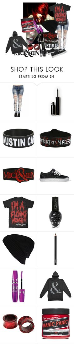 """of mice & men"" by xxxxsourxxxx ❤ liked on Polyvore featuring Machine, Forever 21, River Island, NARS Cosmetics and Manic Panic NYC"