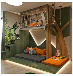 Cool Kids Bedrooms, Kids Bedroom Designs, Home Room Design, Kids Room Design, Awesome Bedrooms, Kid Bedrooms, Boys Jungle Bedroom, Kids Bedroom Ideas, Safari Bedroom