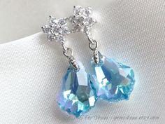 Aquamarine Blue Baroque Swarovski crystal with cubic by gems4uuu, $25.99