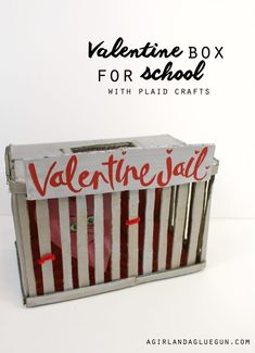 Valentine box for school with plaid crafts--valentine jail #Jail