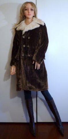 Vintage Juilliard 60's 70's Brown Velvet Mod Coat Size M