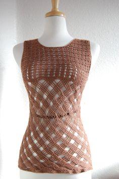 Crochet tank top sleeveless in dark brown cotton by LoyesThread, $50.00