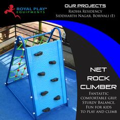 A Single net rock climber, Double the fun, triple the excitement. The dual experience of rope climbing and rock climbing, built to bring adventure and thrill into a child's playground. With non-toxic and superior raw material quality, Royal Play engineers Children safety play equipment. Royal Play builders choice, users delight. #royalplayequipment #playground #netrockclimber #childrenattraction