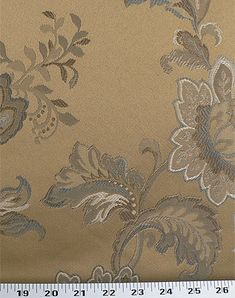 """Upholstery Weight Floral Jacquard Poly Cotton Fabric Gold Cream Pink Orange 59/"""""""