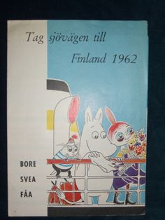 Tove Jansson Moomin illustration on a flyer for a sea voyage to Finland