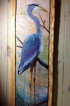 Blue Heron Painting on Reclaimed pine wood 4ft.x 16 by oceanarts10