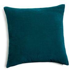 Coussin en velours bleu canard 45 x 45 cm