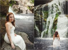 Bridal portraits in front of a waterfall. Click to view more pictures! Photo by JoPhoto. Knoxville wedding photographer, trash the dress