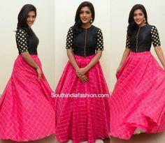 Eesha in Long Skirt and Crop Top – South India Fashion Half Saree Designs, Lehenga Designs, Blouse Designs, Salwar Designs, Dress Designs, Blouse Styles, Long Gown Dress, Saree Dress, Sabyasachi Dresses