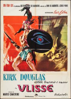 Directed by Mario Camerini. With Kirk Douglas, Silvana Mangano, Anthony Quinn, Rossana Podestà. A movie adaptation of Homer's second epic, that talks about Ulysses' efforts to return to his home after the end of ten years of war. Kirk Douglas, Classic Movie Posters, Classic Films, Cinema Posters, Film Posters, Dramatic Arts, Internet Movies, Movie Photo, Old Movies