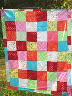 Baby boy / girl quilt blanket  colorful. $100.00, via Etsy.