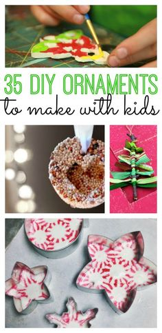 35 DIY Christmas ornaments for kids to make. Perfect ornaments to trim your tree or to give as xmas gifts.