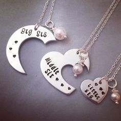 How amazing is this three piece sister necklace set?!? by KristinesKeepsakes