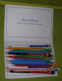 VINTAGE PICCOLO PENCIL LOT BLACK FOREST GERMANY UNUSED SANTA CLAUS WHISTLE BEAR