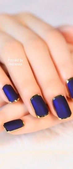 Blue and gold nails Gold french tip