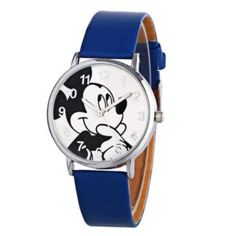 Disney Unisex Silver tone Vintage Mickey Mouse watch with Numbers and Minute Track. Mickey Cartoons, Boy And Girl Cartoon, Mickey Mouse Watch, Fashion Casual, Style Fashion, Bracelet Cuir, Quartz Watch, Fashion Watches, Luxury Branding