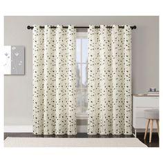 Vcny Jasmine Textured Embroidered Grommet Curtain Panel