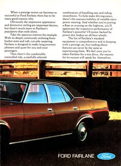 1978 ZH Fairlane By Ford Page 2 Aussie Original Magazine Advertisement Australian Cars, Ford Fairlane, Ford Falcon, Car Ford, Ford Motor Company, Motor Car, Classic Cars, Wheels, Advertising
