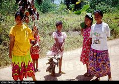 Federated States of Micronesia people waiting in the road.