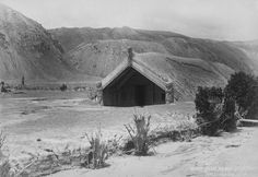 Hinemihi at Te Wairoa - after the Mt Tarwera eruption in 1886. Image from Te Ara. The Meeting House is now in Surrey UK