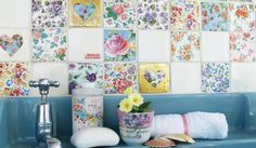 Modern accent wall design with tiles in patchwork style