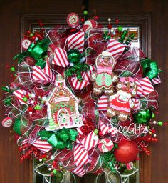 Whimsical GINGERBREAD HOUSE WREATH with a Cute by decoglitz