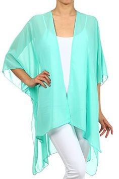 Modern Kiwi Solid Sheer Chiffon Kimono Cardigan Mint One Size >>> You can get additional details at the image link. Amazon Affiliate Program's Ads.