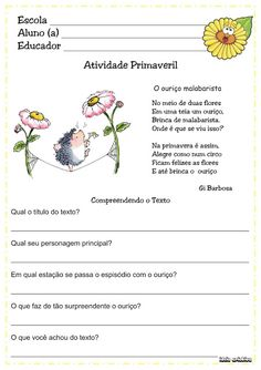 TEXTOS CURTOS COM INTERPRETAÇÃO 1º ANO FUNDAMENTAL Primary School, Teaching, Education, Homeschooling, Magazine, Poetry Activities, Kids Learning Activities, Reading Activities, Text Types