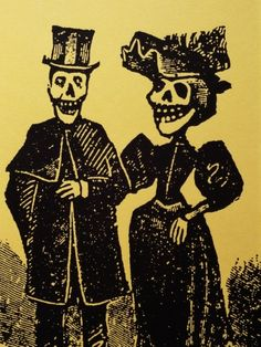 Detail Showing Skeletal Couple from El Gran Paneon Amoroso by Jose Guadalupe Posada  by Mark Karrass