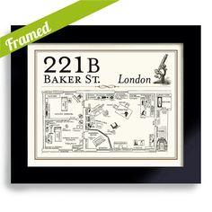 Sherlock Holmes Framed Artwork BBC 221B Baker Street House Crime Scene Dr Watson Detective Drama Pub Sign Olde London England Some fun art for the