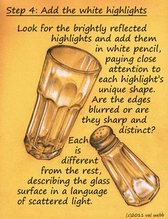Tutorial: Drawing Reflections on Glass. Also cool botanical lesson on same site.