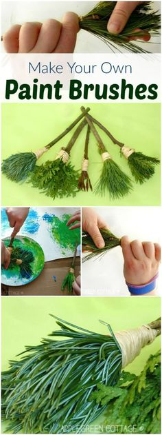 How to make your own nature paint brushes - an easy, fun and free DIY for kids and adults alike! nature crafts DIY Nature Paint Brushes for Kids Kids Crafts, Craft Projects, Easy Crafts, Diy Nature Projects, Kids Nature Crafts, Craft Ideas, Summer Crafts, Toddler Crafts, Nature Activities