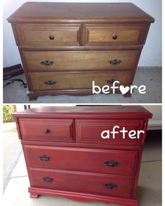 Red Dresser, Dresser Ideas, Furniture Refinishing, Furniture Makeover,  Furniture Ideas, Farm Bedroom, Master Bedroom, Painted Dressers, Painted  Furniture