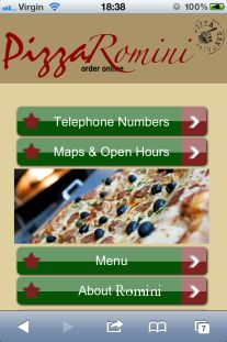 Pizza restaurant mobile website design. Your mobile website's main navigation menu needs to be simple and linking to either a submenu navigation or pages that contain content that a mobile user would most likely to be seeking on the move. In this example mobile site, the top 2 calls to action i.e. telephone numbers and GPS maps to locate the pizza restaurant are positioned at the top of the screen for easy access.